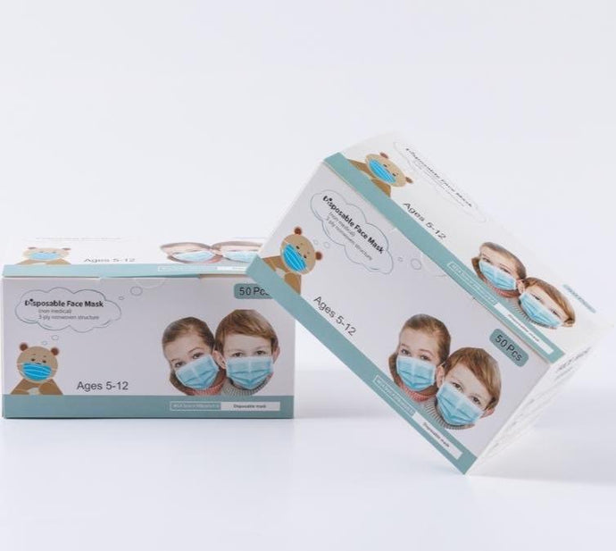Kids 3 Ply Masks Box of 50, $0.06/mask