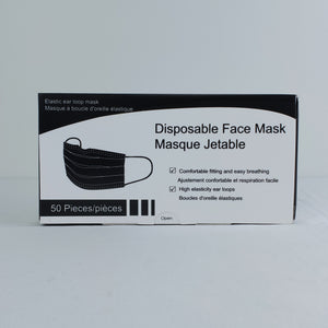 Black 3 Ply Masks Box of 50, $0.08/mask