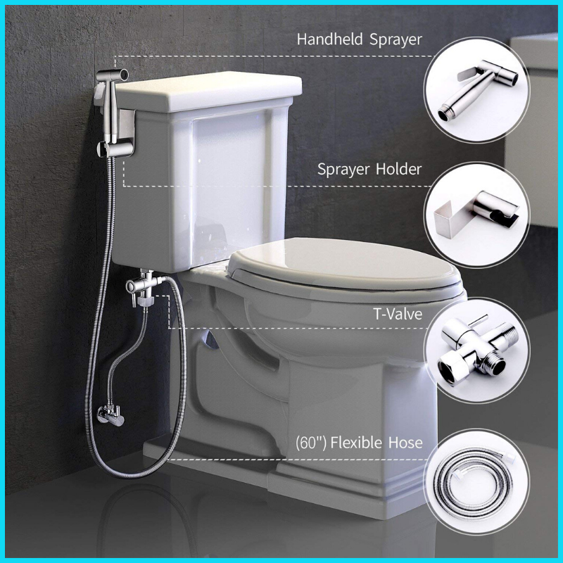 Premium Hand Held Stainless Steel Bidet Set