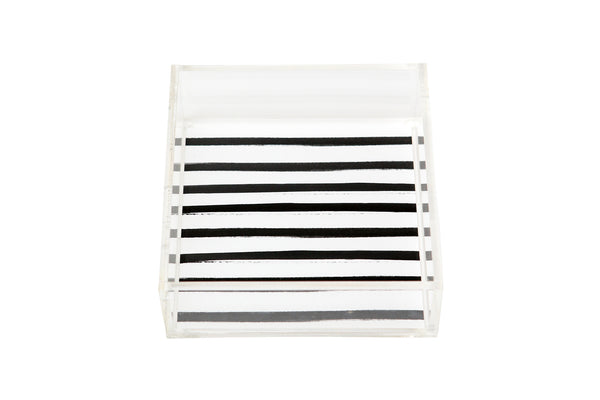 Square Signature Black Stripes Lucite Tray