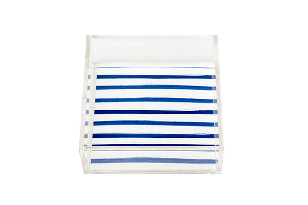 Square Signature Blue Stripes Lucite Tray