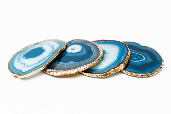 Teal Gold Rimmed Agate Coasters