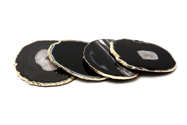 Black Gold Rimmed Agate Coasters