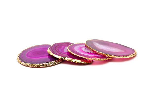 Pink Gold Rimmed Agate Coasters