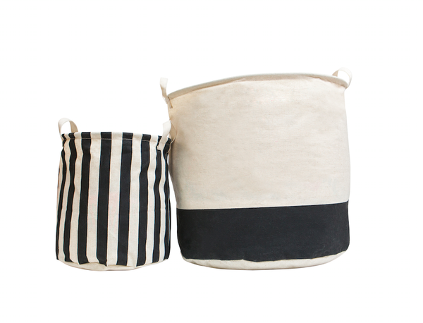 Black and White Canvas Storage Bins