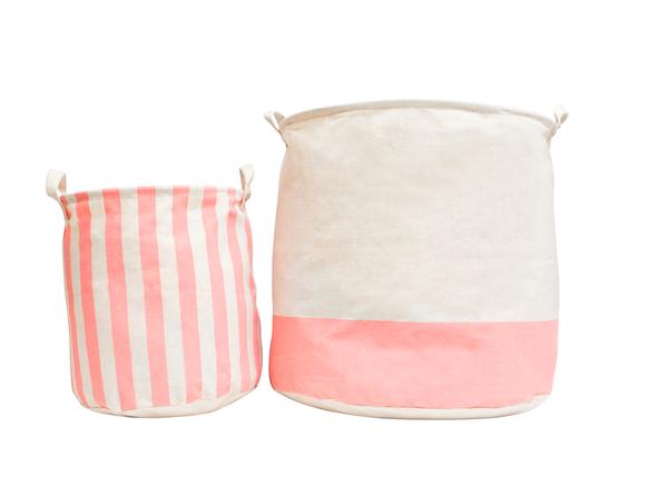 Coral Canvas Storage Bins