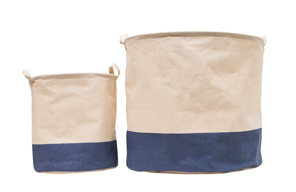 Navy Canvas Storage Bins