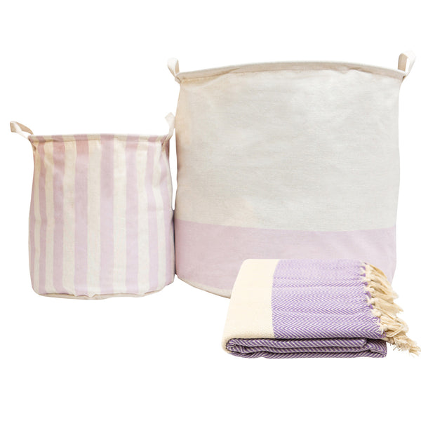 Blanket + Storage Bins Gift Set