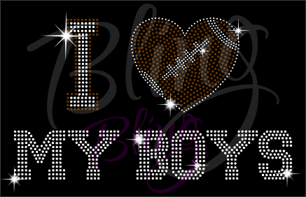 I Love My Boys Football Shirt, Football Rhinestone Shirt, Football t shirt, Football Gift, Football Season Shirt, Rhinestone Football Shirt
