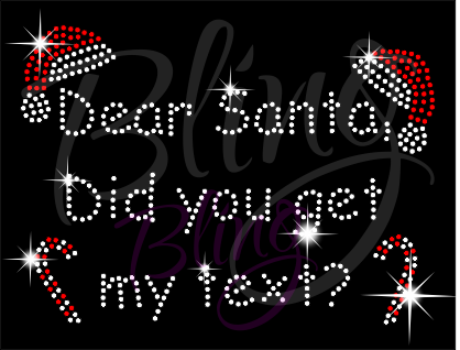 Dear Santa Did You Get My Text Rhinestone Shirt, Santa Shirt, Christmas Shirt, Rhinestone Shirts, School Christmas t Shirts, Ugly Sweater