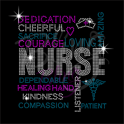 Nurse Words Shirt, Nurse Shirt, Crew Neck Shirt, Rhinestone Shirts, Bling Shirts