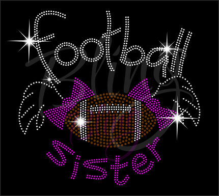 Football Sister Shirt, Football Rhinestone Shirt, Football t shirt, Football Gift, Football Season Shirt, Rhinestone Football Shirt