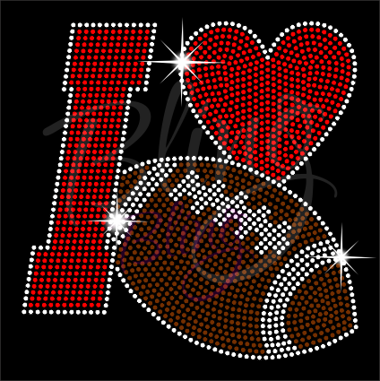 I Love Football Shirt, Football Rhinestone Shirt, Football t shirt, Football Gift, Football Season Shirt, Rhinestone Football Shirt