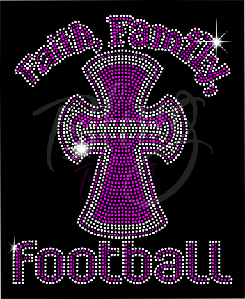 Faith, Family, Football Shirt, Football Rhinestone Shirt, Football t shirt, Football Gift, Football Season Shirt, Rhinestone Football Shirt