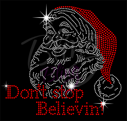 Don't Stop Believin Santa Rhinestone Shirt, Christmas Shirt, Rhinestone Shirts, School Christmas t Shirts, Ugly Sweater