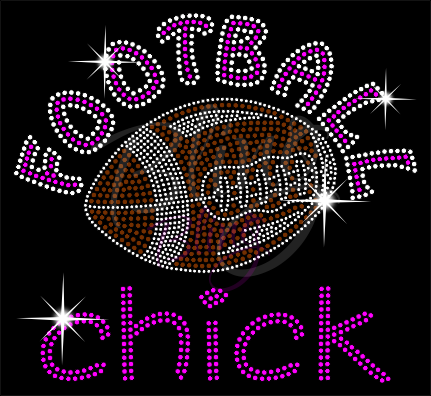 Football Chick Shirt, Football Rhinestone Shirt, Football t shirt, Football Gift, Football Season Shirt, Rhinestone Football Shirt