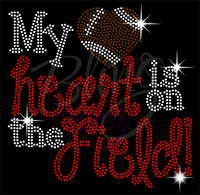 My Heart Is On The Field Football Shirt, Football Rhinestone Shirt, Football t shirt, Football Gift, Football Season Shirt, Rhinestone Football Shirt
