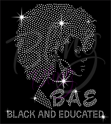 Black and Educated Shirt, Crew Neck Shirt, Rhinestone Shirts, Bling Shirts, BLM Shirt,