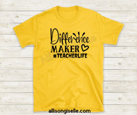 Difference Maker Shirts, Shirt For Teacher, Teacher Shirt, Teacher t shirt, Crew Neck Shirt, Teacher Gifts, Gift For Teacher