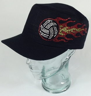 Volleyball Fire Rhinestone Hat, Volleyball Hat, Rhinestone Hat, Embroidered Hats, Rhinestone Cap, Hats, Caps