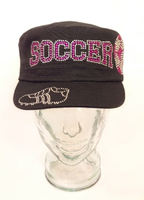 Soccer Shoe Rhinestone Hat, Soccer Hat, Rhinestone Hat, Embroidered Hats, Rhinestone Cap, Hats, Caps