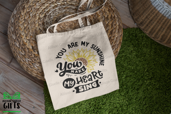 Tote Bags, You Are My Sunshine You Make My Heart Sing Tote, Gifts for Teachers, Canvas Totes, Personalized Totes, Custom Totes