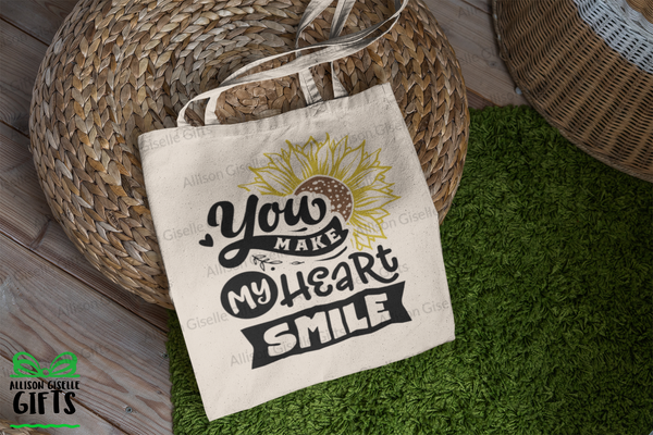 Tote Bags, You Make My Heart Smile Tote, Gifts for Teachers, Canvas Totes, Personalized Totes, Custom Totes