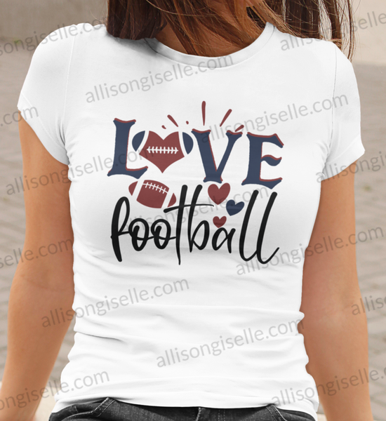Love Football Shirt, Football Shirt, Football Shirt Women, Crew Neck Women Shirt, Football t shirt, Football t shirt Women