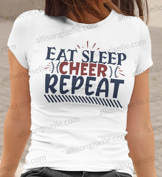 Eat Sleep Cheer Repeat Shirt, Adult Cheer Shirts, Cheer Shirt Adult, Cheerleader Shirt, Cheer Mom Shirt