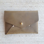 Leather Card Holder - Olive