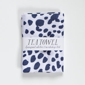 Navy Dots Tea Towel