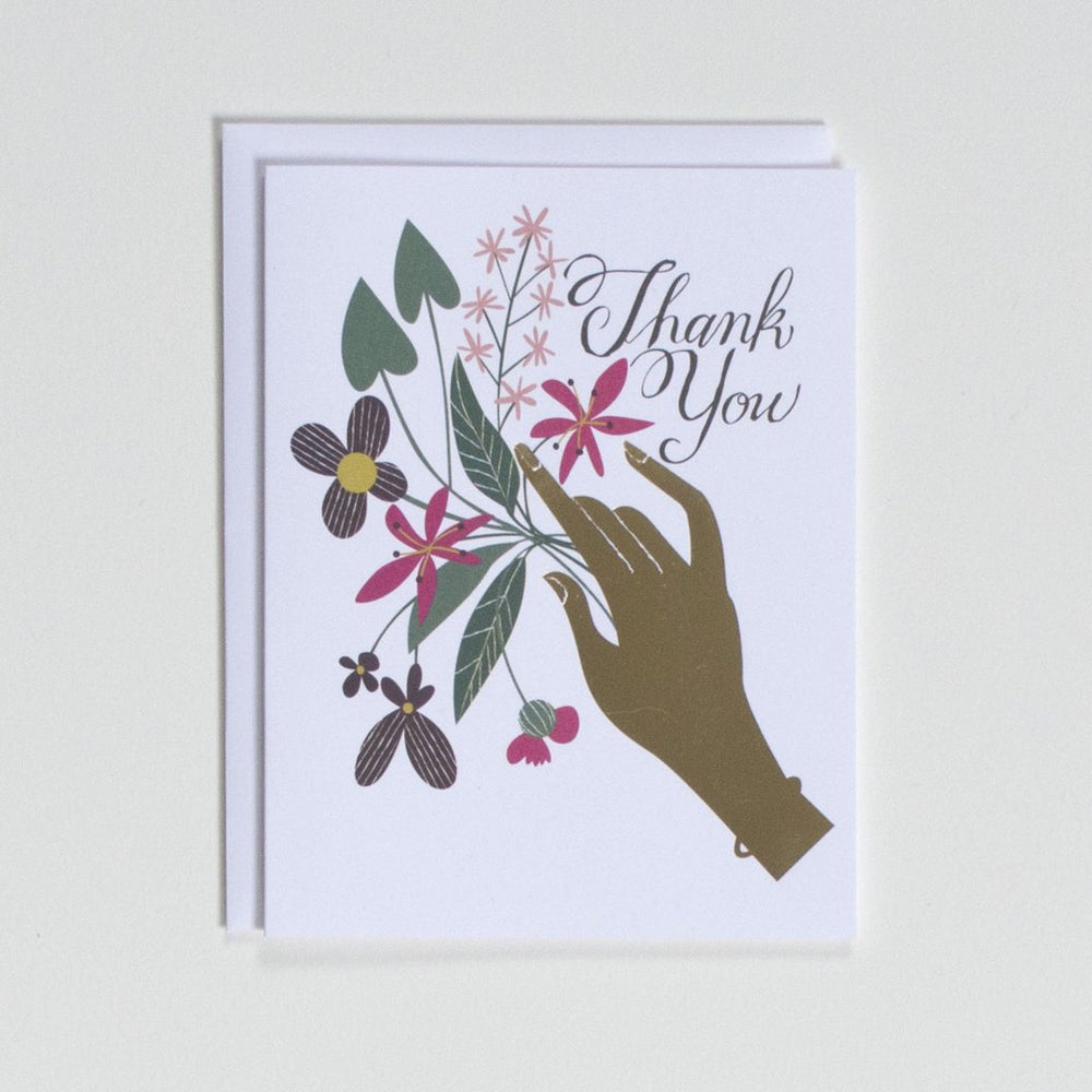 Load image into Gallery viewer, Floral Bouquet Thank You Gold Foil Card