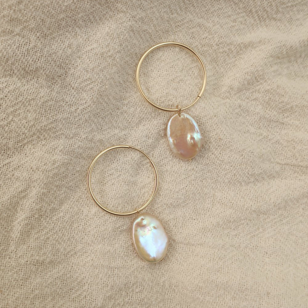 Peach Pearl Hoops