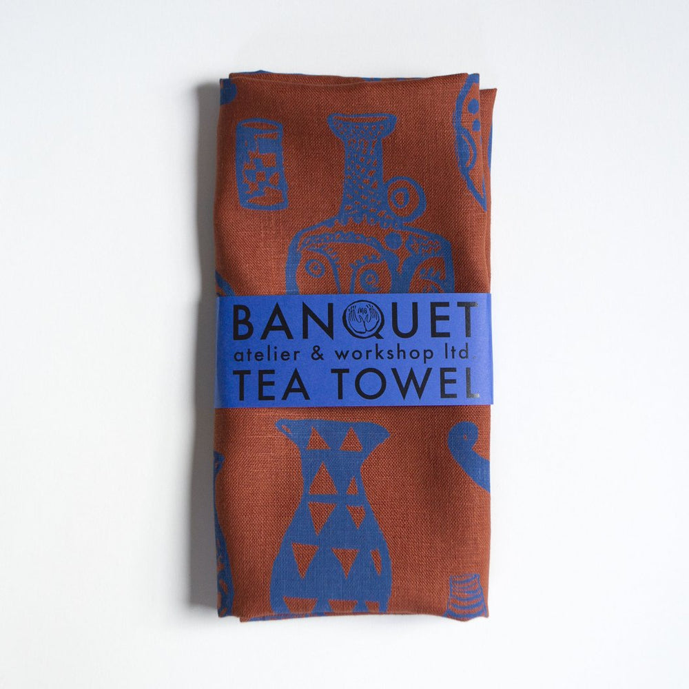 Blue Vessels on Rust Tea Towel