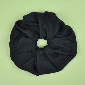 Oversized Black Silk Scrunchie