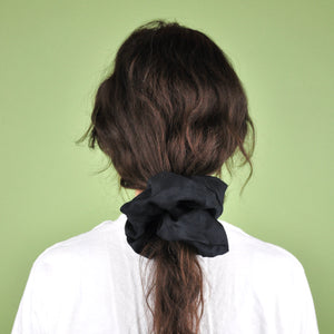 Load image into Gallery viewer, Oversized Black Silk Scrunchie