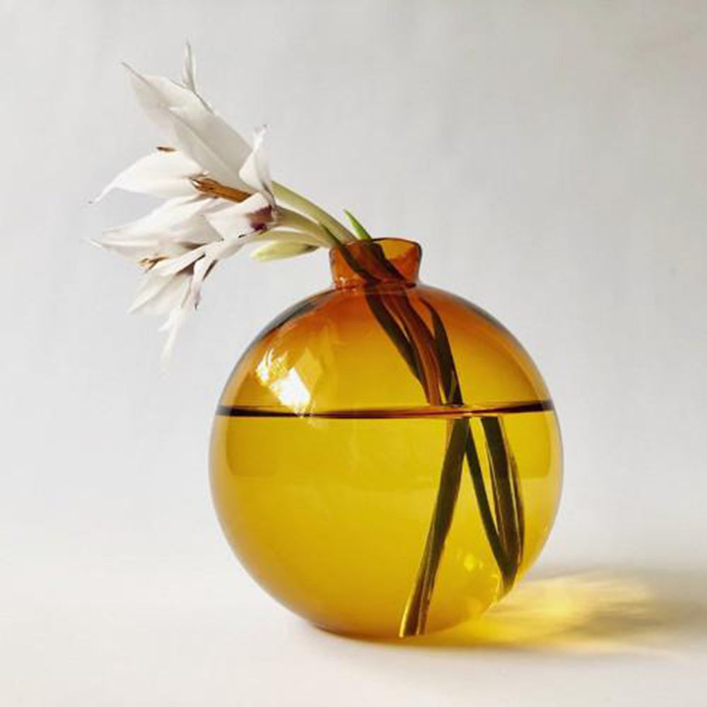 Amber Blown Glass Vase