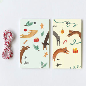 Jumping Cats + Dogs Gift Tags