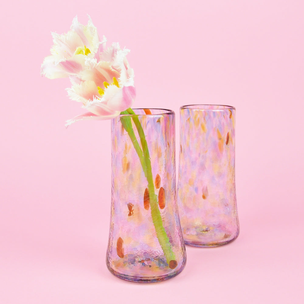 Rainbow Confetti Tall Glass Vase