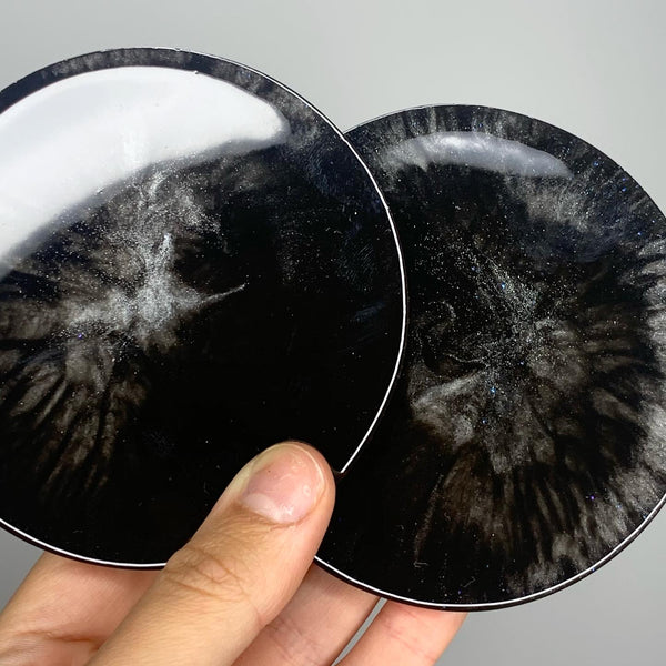 MADE TO ORDER - Set of 2 Black & Silver Round Coasters