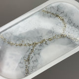 White & Silver Crackle detail Jewellery/ Soap tray