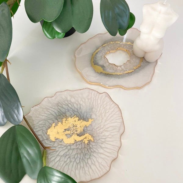 MADE TO ORDER - Set of 2 Ivory & Gold Coasters