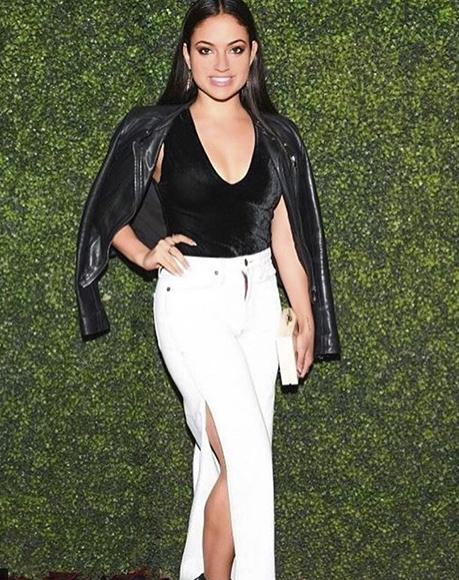 Actress and influencer Inanna Sarkis with L'alingi Pearl tutsi clutch