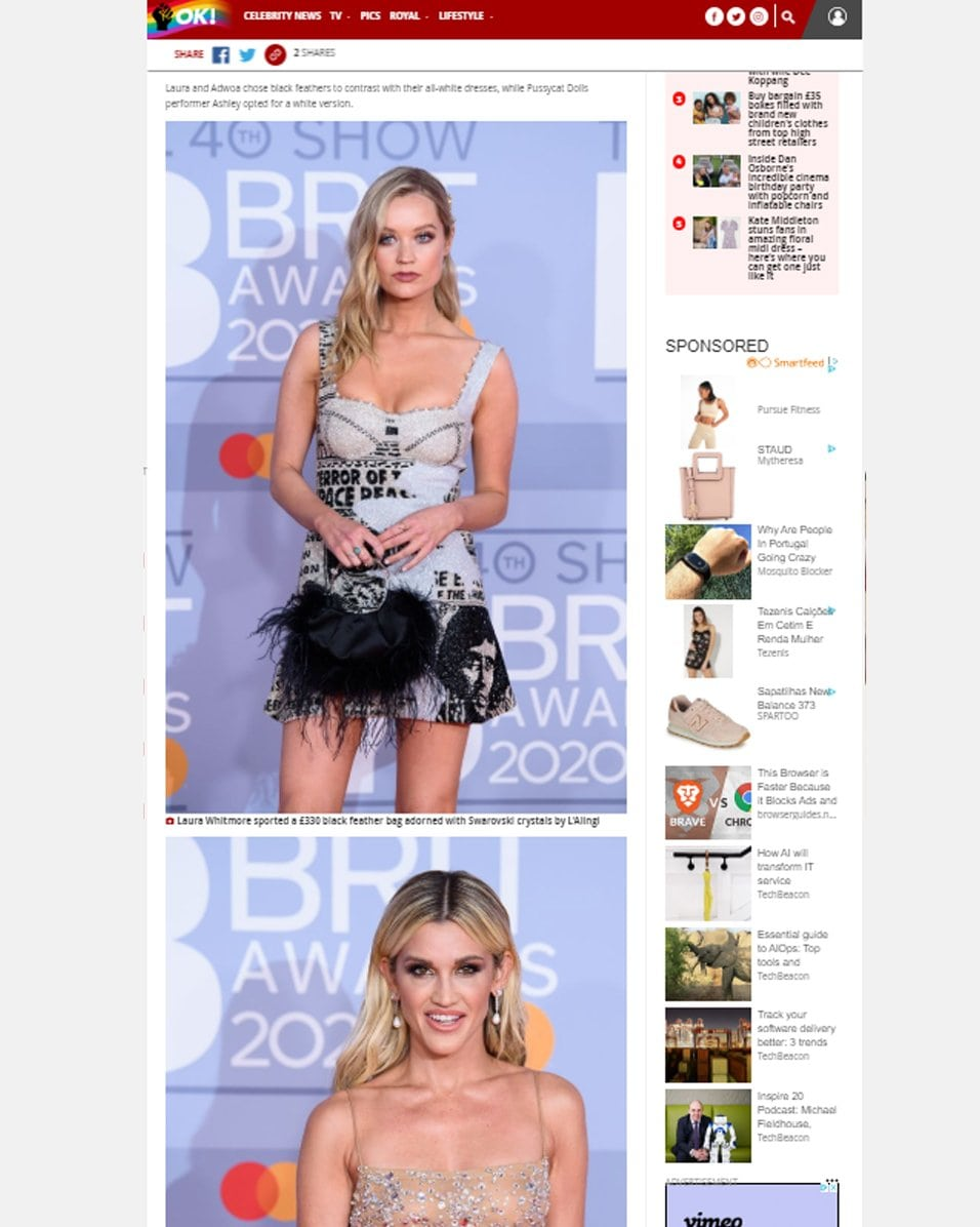 Laura Whitmore with L'alingi London black feather pouch in OK!