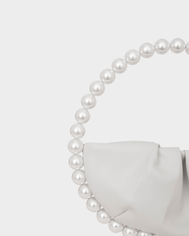 L'alingi London Pearl White Leather Luxury Clutch
