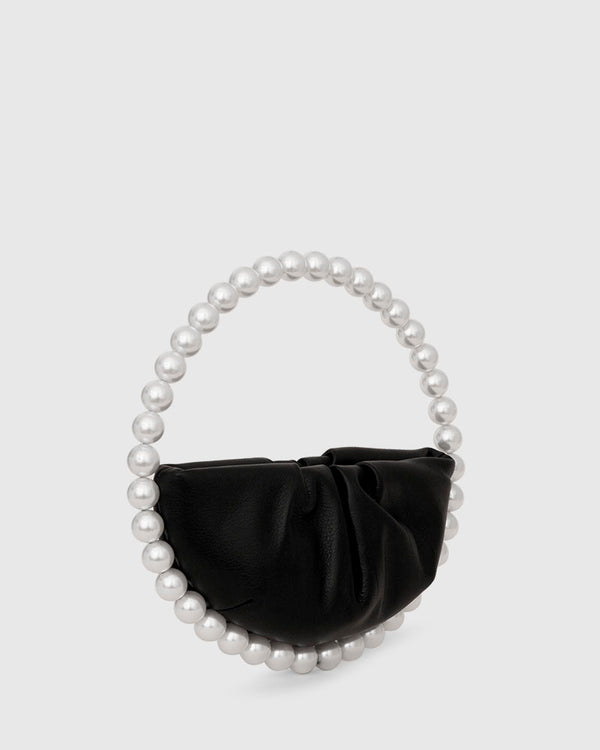 L'alingi London Pearl Black Leather Luxury Clutch