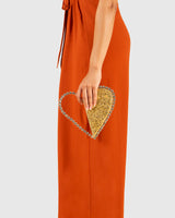 L'alingi London Gold Metallic Love Luxury Clutch