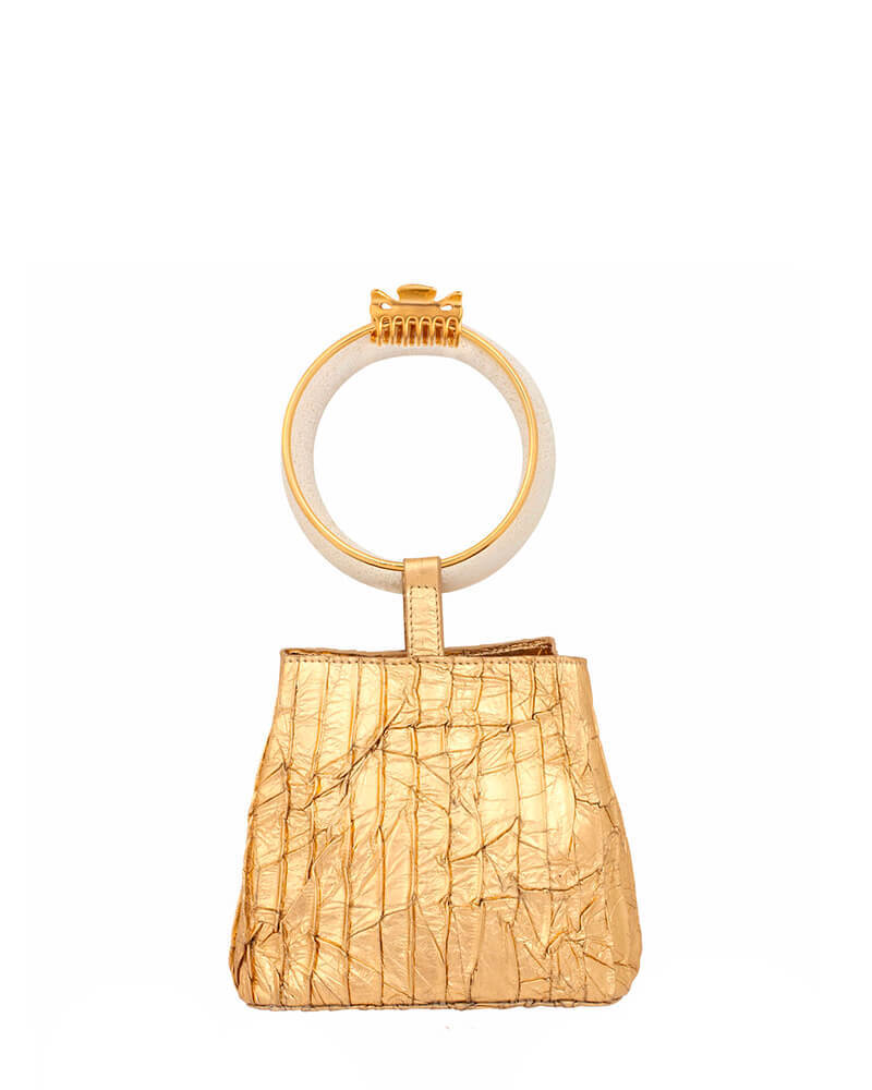 L'alingi London Gold Bangal Bucket Luxury Clutch
