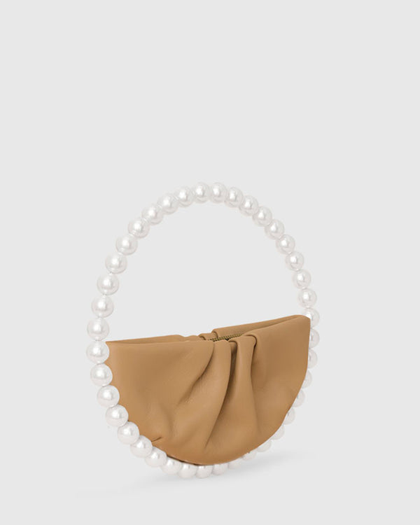 L'alingi London Pearl Nude Leather Luxury Clutch