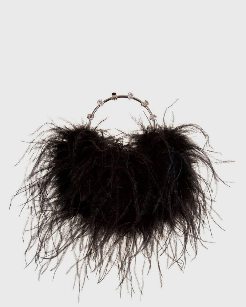 L'alingi London Pouch Black Feathers Luxury Clutch